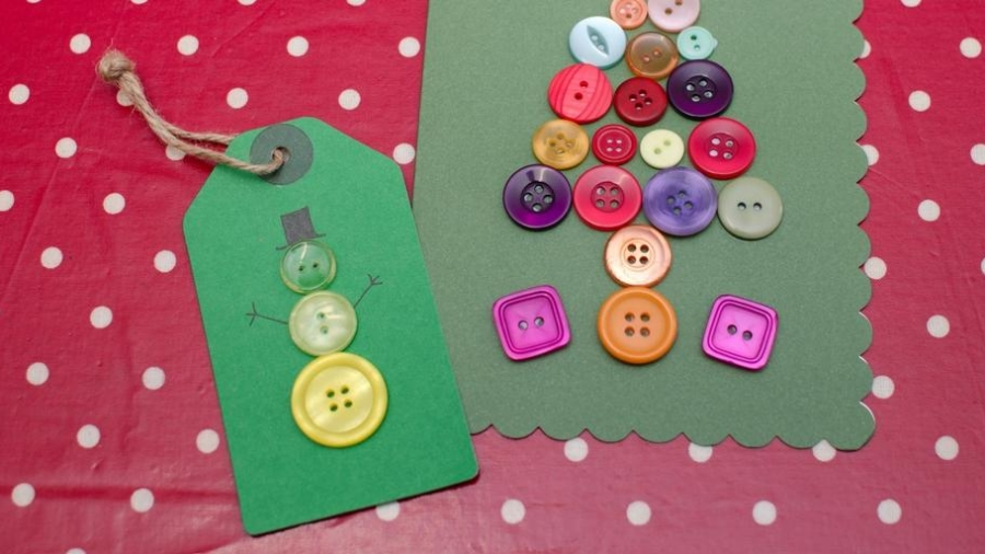 Christmas Crafts Button Snowman Gift Tag And Christmas