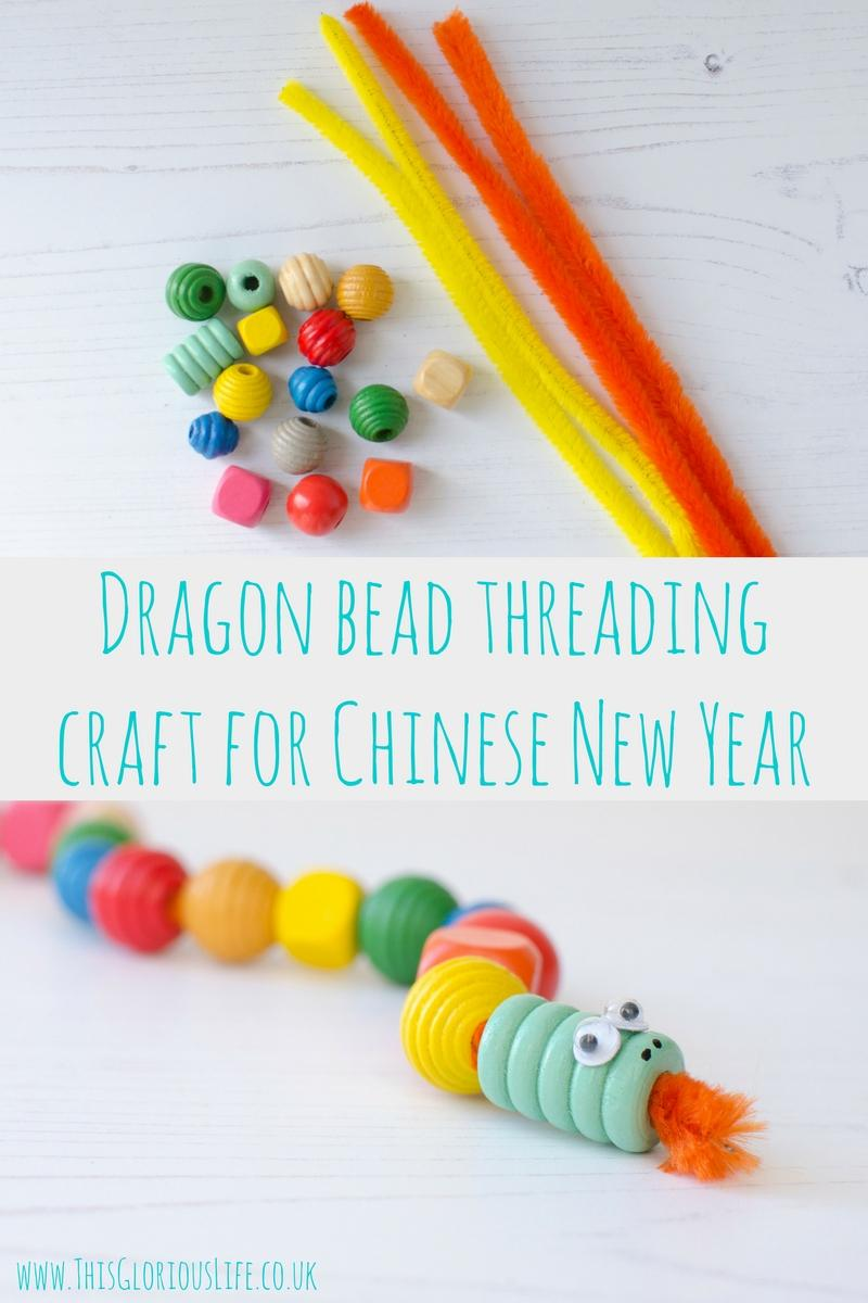 Dragon bead threading craft for Chinese New Year