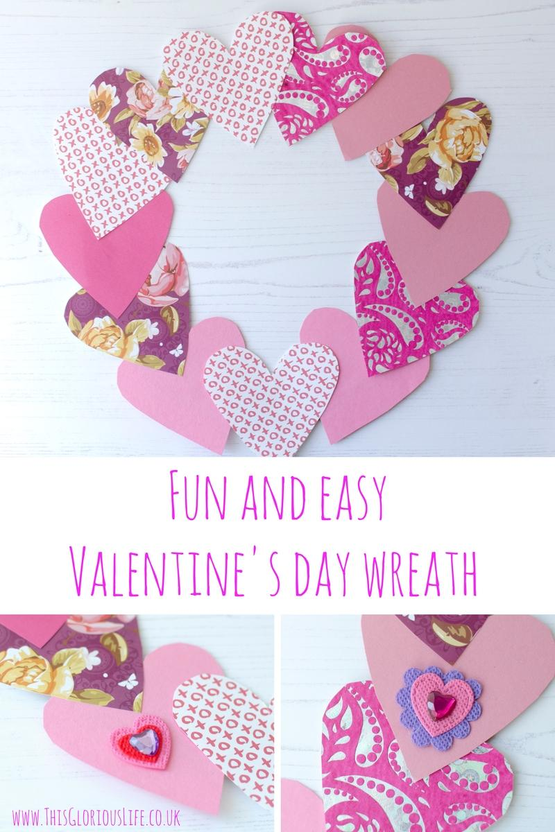 valentines day wreath craft activity with paper hearts