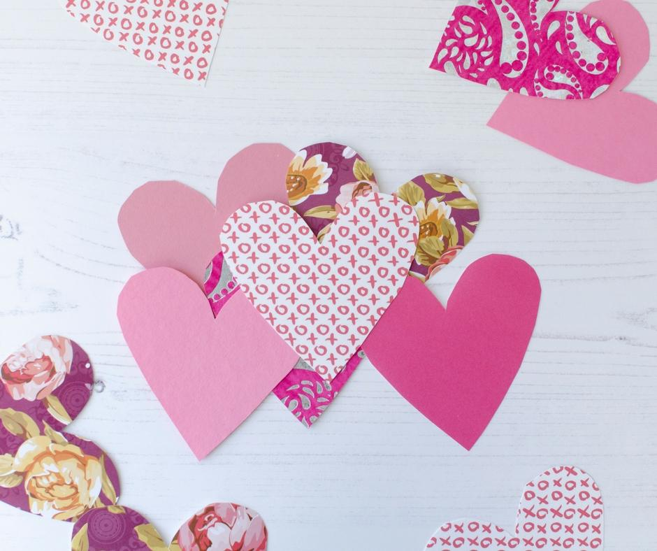valentines day wreath paper hearts