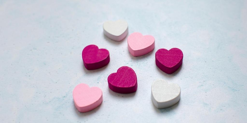 seven small coloured hearts