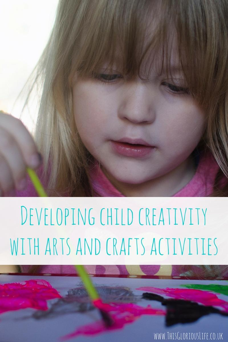 Developing child creativity with arts and crafts activities