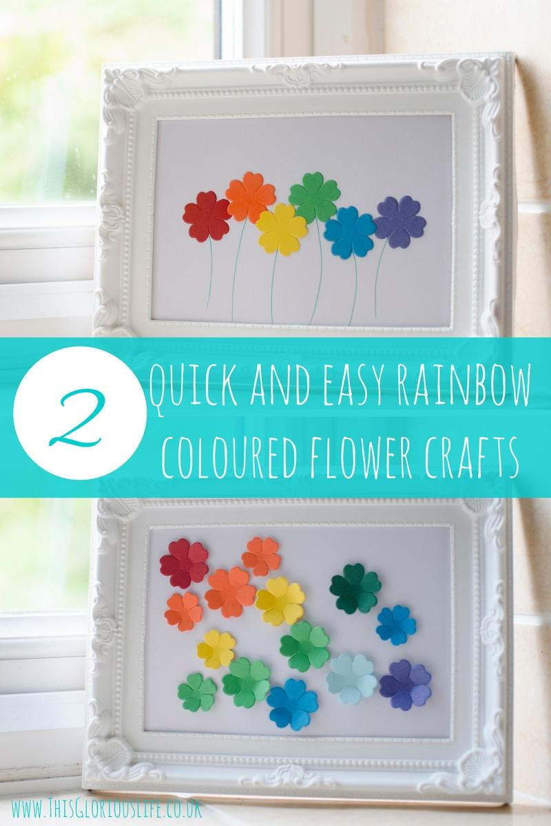 2 quick easy rainbow coloured flower crafts