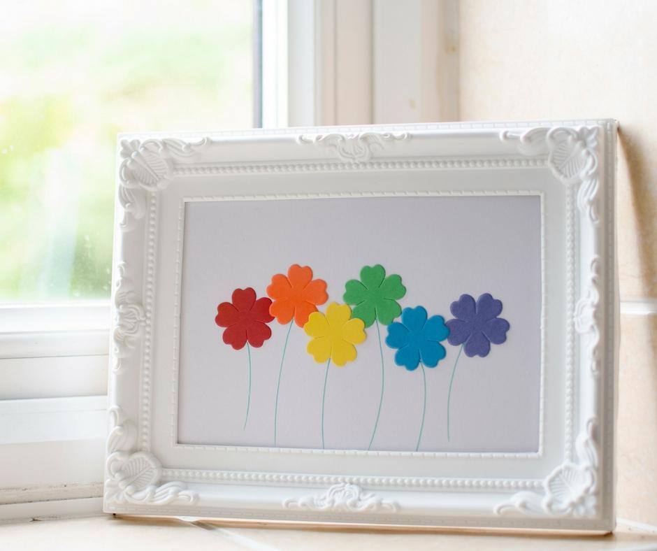 simple framed flower picture rainbow colours