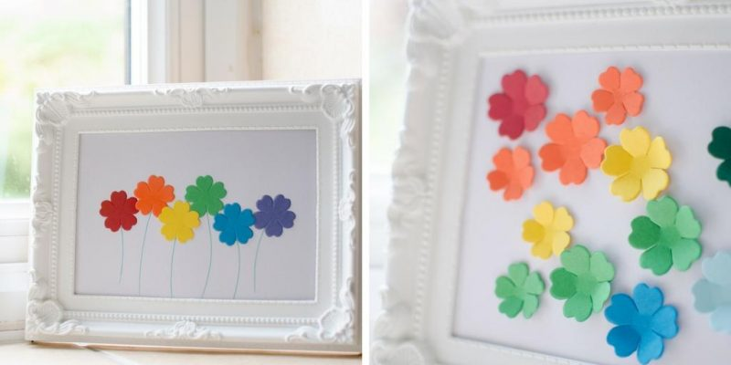 simple framed rainbow coloured flower pictures