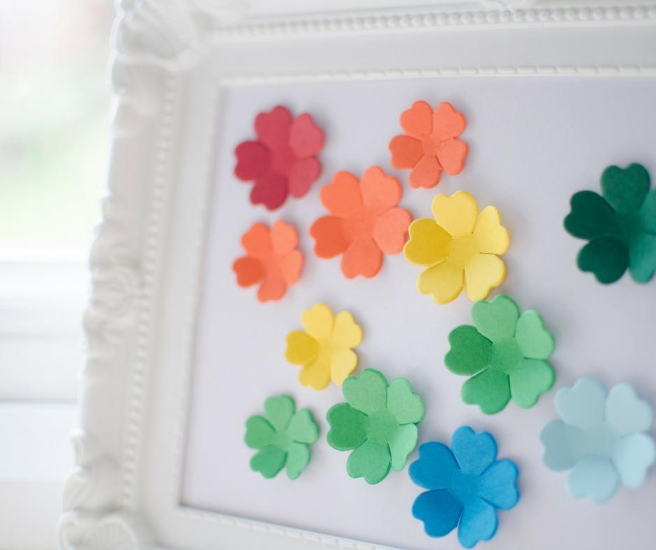 simple fun framed 3d flower picture rainbow colours
