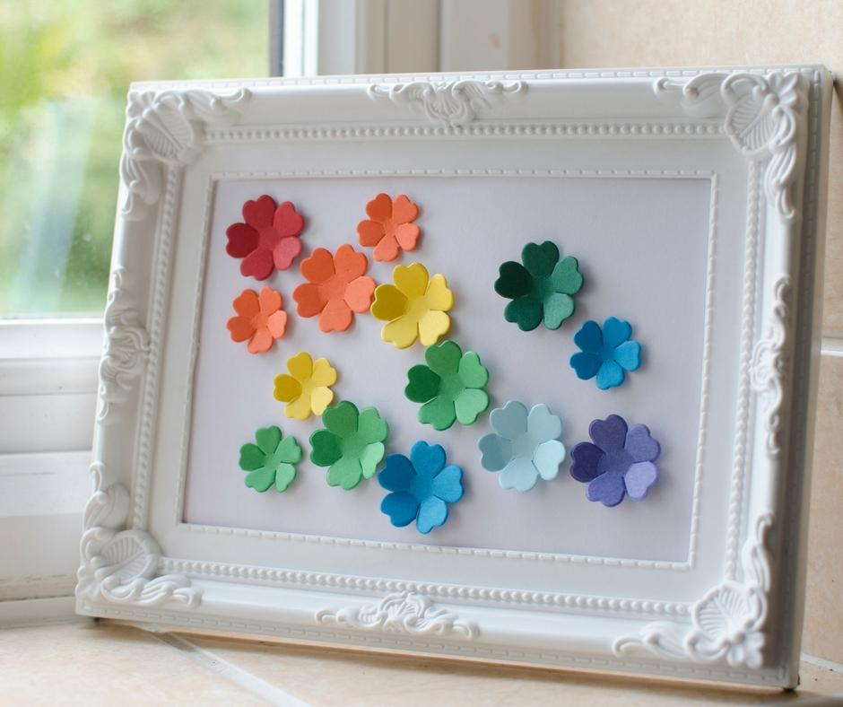 simple fun framed 3d rainbow coloured flower picture