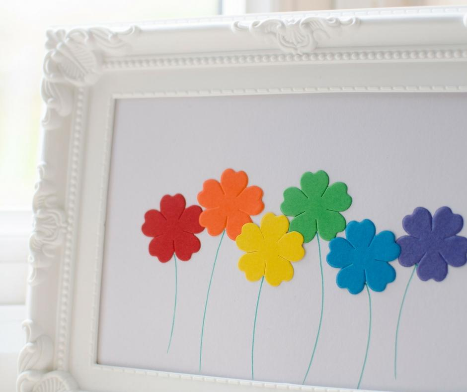 simple fun framed flower picture rainbow colours