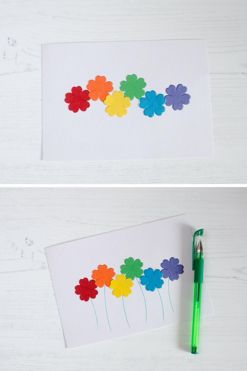 simple fun rainbow coloured flower picture craft