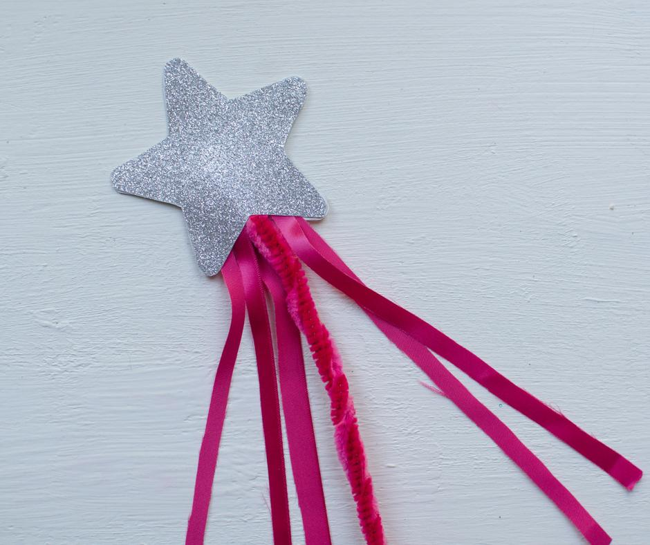 silver star pink ribbon fun fairy wand craft