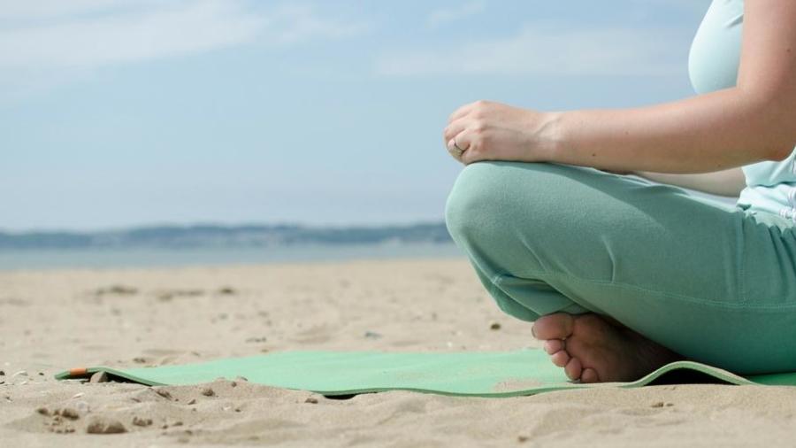 Me time beach yoga Swansea ParkLives