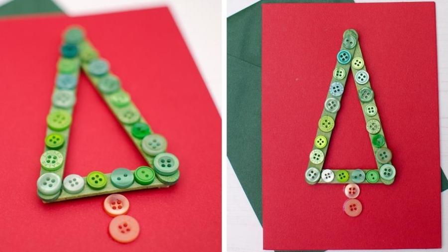 simple fun Christmas tree card