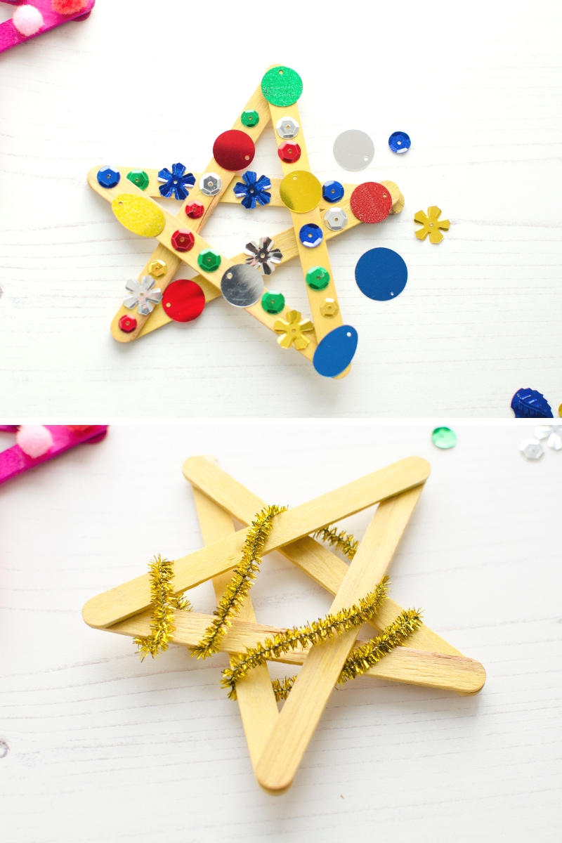 Bostik lolly craft stick Christmas star decorations sequins pipe cleaners