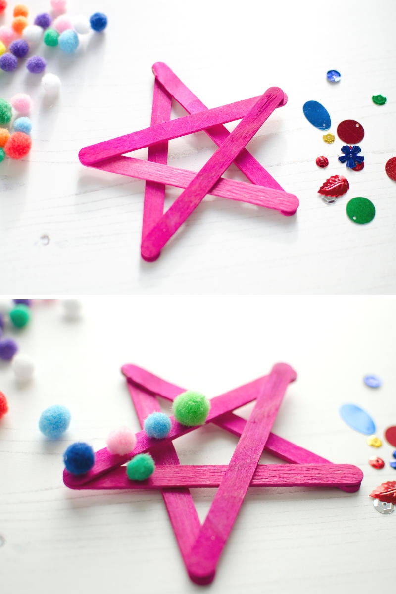 Bostik lolly craft stick Christmas star decorations