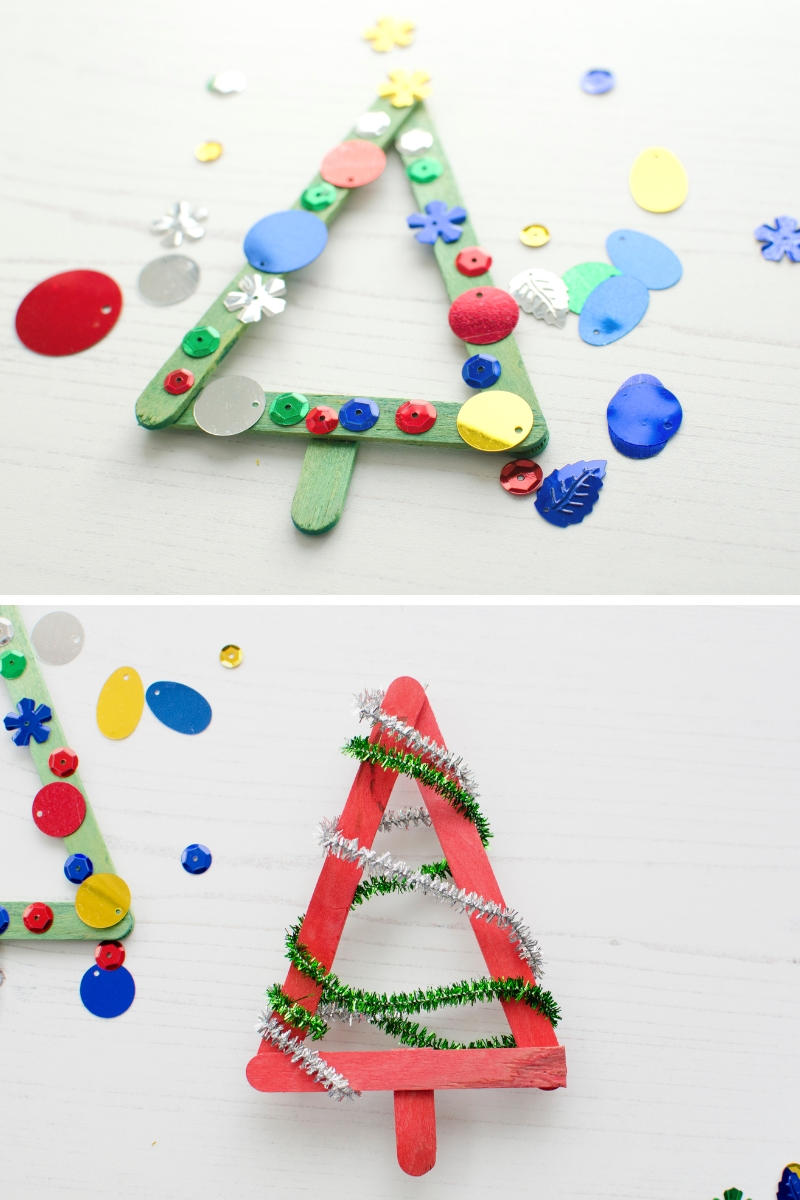 Bostik lolly craft stick Christmas tree decorations sequins pipe cleaners
