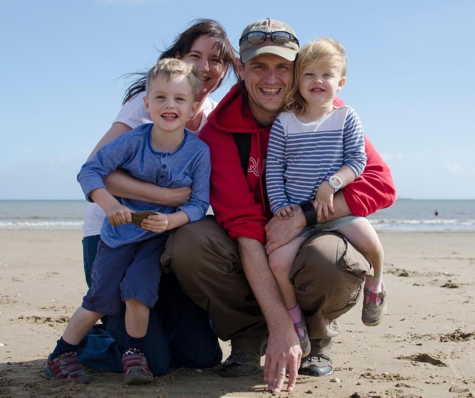 happy family photo on a beach